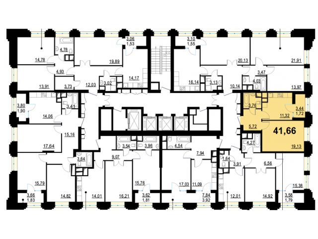 1-комнатная квартира комфорт-класса 41.66 кв.м. в 10 мин от метро Октябрьское поле - 2/4