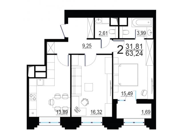 Готовая новая 2-комнатная квартира комфорт-класса 63.24 кв.м. в 15 мин от м. Октябрьское поле - 1/4