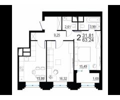 Готовая новая 2-комнатная квартира комфорт-класса 63.24 кв.м. в 15 мин от м. Октябрьское поле