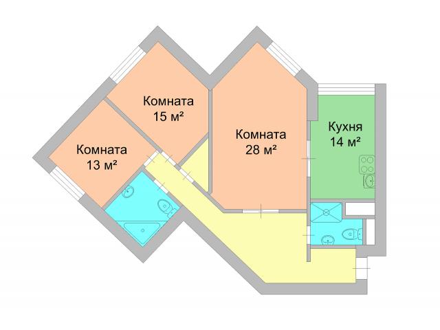 Продается 3хкомнатная квартира в Куркино. - 1/4